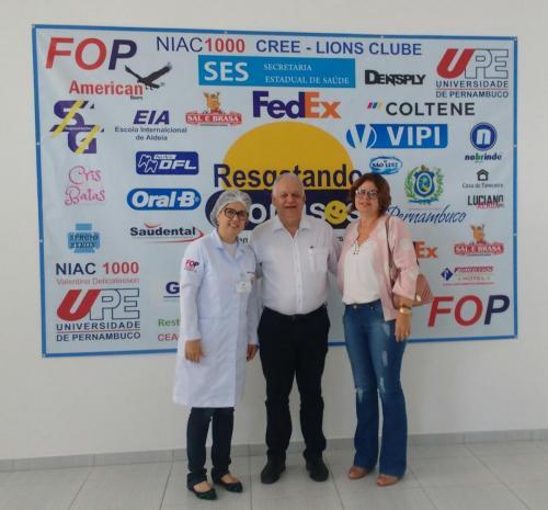 Profª Sandra Moraes (Corrdenadora do Programa), Prof Pedro Falcão (Reitor UPE) e Profª Mônica Pontes (Diretora FOP/UPE)